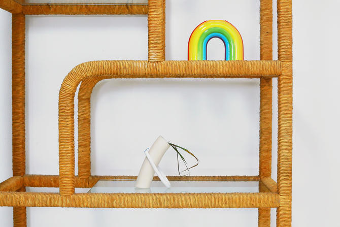 Split Reed Wrapped Etagere by BetsuStudio