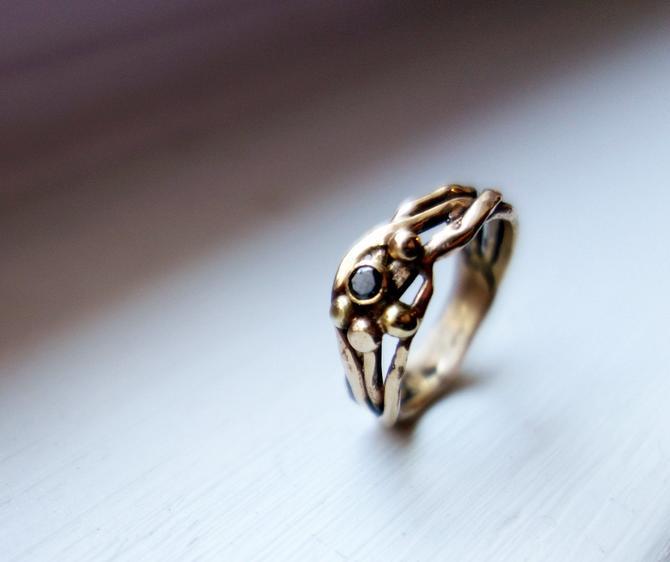 14k Yellow Gold Nest Ring with Black Diamond by RachelPfefferDesigns