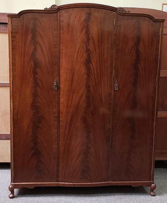 Item #S2064 Flame Mahogany Triple Door Armoire c.1940s