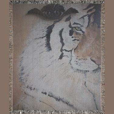 Animal Print Woven Blanket ~ Tiger Animal Print Throw Blanket ~ Tiger Wall Tapestery ~ Wall Art by DareToBeVintage
