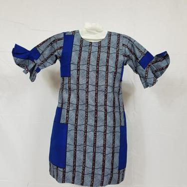 Blue and grey girl's ankara 3/4 sleeve dress by GLAMMfashions
