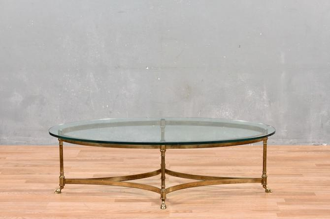 Regency Brass & Glass Hooved Coffee Table – ONLINE ONLY