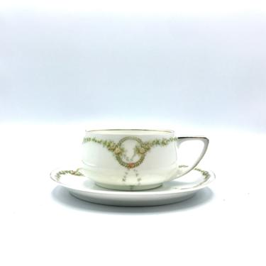 Vintage 1930s Rosenthal Donatello Tea Cup and Saucer Set, Briar Rose Pattern, Art Deco Era, Selb Bavaria Collectible Fine Bone China by RanchQueenVintage
