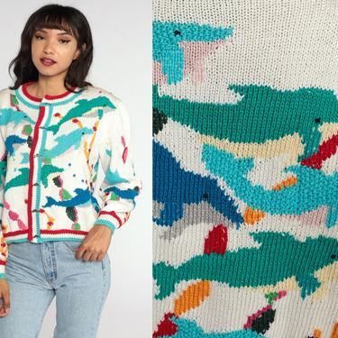 Dolphin Cardigan Sweater 90s Sweater Cotton Novelty Print Sweater Button Up Off-White Animal Sweater Cotton 1990s Vintage Oversized Medium by ShopExile
