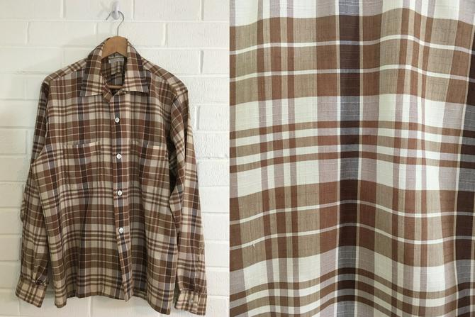 Vintage Brown Plaid Top 70s Button Up 1970s Long Sleeve Mac Phergus Western Ware Cowboy Style Men's XL Women's Plus Curvy Volup by CheckEngineVintage