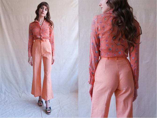 Vintage 70s Salmon Pink Bell Bottoms/ 1970s High Waisted Wide Leg Spring Pants/ Size 24 25 by bottleofbread