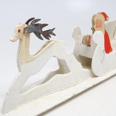 Vintage Cardboard Santa and Sleigh with Reindeer, Retro Toy for Christmas, Antique Decor by exploremag