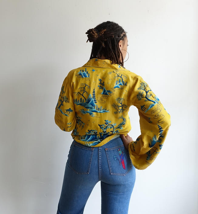 Vintage Embroidered Silk Jacket/Bright Yellow and Blue Bell Sleeve/ 20s 30s 40s / Chinese Silk Embroidery/ Size M by bottleofbread