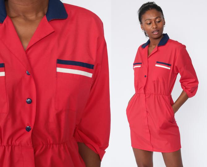 Striped Shirt Dress 80s Button Up Mini Dress Red Secretary Shirtdress High Waist 1980s Vintage 3/4 Sleeve Dress Medium by ShopExile