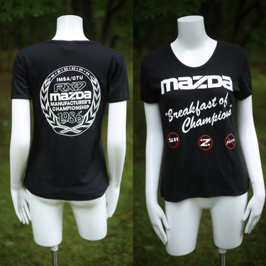 80s MAZDA car vintage graphic t shirt L / vintage 1980s classic auto tee shirt 1986 by ritualvintage