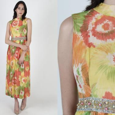 70s Bright Floral Chiffon Midi Dress / Colorful Garden Flower Print Dress / Watercolor Cocktail Disco Lounge Party Maxi Dress by americanarchive