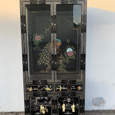 Chinoiserie China Cabinet Display Case Hutch Etagere Glass Case Unit Asian Colorful Lacquer Peacock Design Brass Hardware Kitchen Storage by DejaVuDecors