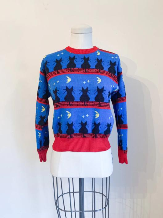 Vintage 1980s Black Cat Novelty Sweater / youth 10-12 fit on XS lady by MsTips