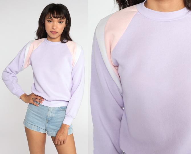 Lavender Crewneck Sweatshirt 80s Sweatshirt Raglan Sleeve Color Block Pastel Shirt Slouchy 1980s Vintage Sweat Shirt Extra Small xs by ShopExile