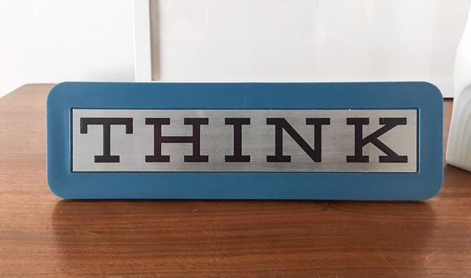 Iconic IBM THINK sign plaque 1970s vintage pop irony art blue rare design Paul Rand by CaribeCasualShop