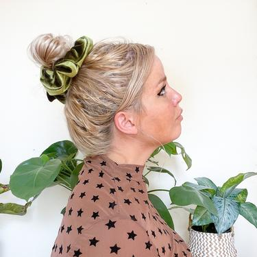 Giant Velvet Scrunchie  -  Fun Gift / Olive / Emerald / Autumn Fall  / Black / Gold  - Boho Workout hair extra large accessory by IrisAtelierCouture