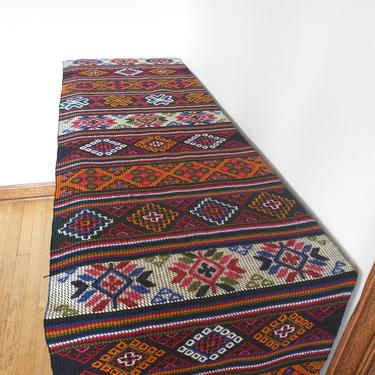 Vintage Embroidered Runner, 11' by 1.5', Extra Long Hand Woven Textile, Bright Multicolor Geometric Pattern, Turkish, Moroccan, Tribal by CivilizedCrow