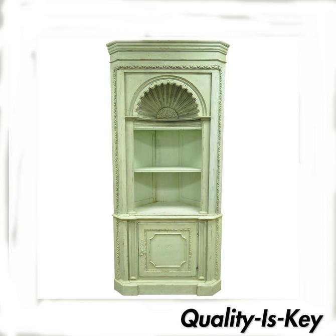 Green Distress Painted Shell Carved Country French Style Corner Cabinet Cupboard