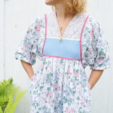 1970s Floral Cotton Balloon Sleeve Dress | Vintage 1970s Pastel Mixed Floral Tent Dress |  M by wemcgee