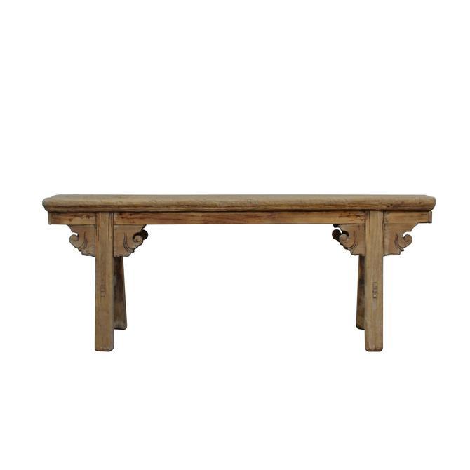 Vintage Chinese Slim Carving Apron Wood Seating Bench cs5494S