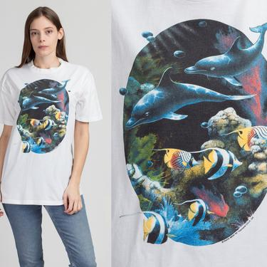 90s Dolphin Graphic Tee - Medium to Large   Vintage White Cotton Fish T Shirt by FlyingAppleVintage