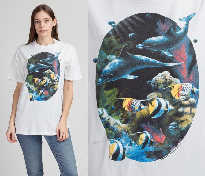 90s Dolphin Graphic Tee - Medium to Large | Vintage White Cotton Fish T Shirt by FlyingAppleVintage