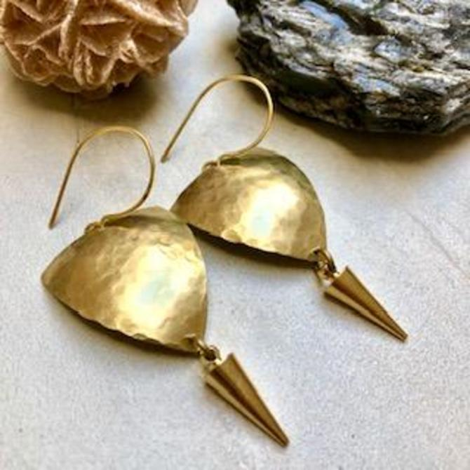 Shield Earring with Gold Spike