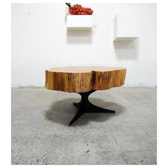 live edge coffee table - urban salvage - parabola cloud table - natural edge with midcentury modern hairpin legs - flower - cedar flare by birdloft