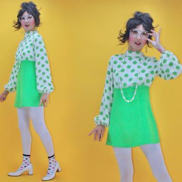 Vintage 1960s 60s MOD Green Apple Polka Dot Fun GoGo Micro Dress /SZ S/ Bishop Lantern Sleeve Mockneck London Twiggy 1970s 70s Boho Mini by TheeAppleBoutique