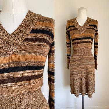 Vintage 1970s Brown Space Dyed Sweater Dress / XS by MsTips
