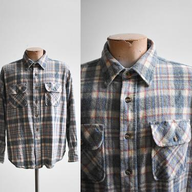 1980s Baby Blue Wool Plaid Flannel by milkandice