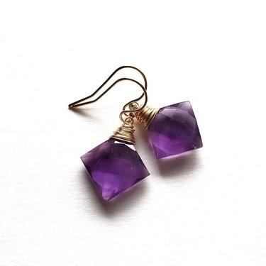 Rhombus Purple Amethyst Simple Earrings, Gold