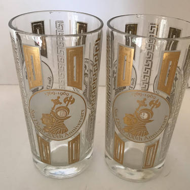 Vintage Pair Highball  Cocktail  glassTumblers commemorating the Bicentennial of San Diego, CA-c 1969 by JoAnntiques