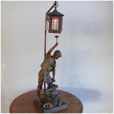 A8050 Bronze Figural Newell Post Lamp/Table Lamp by bbbantiques