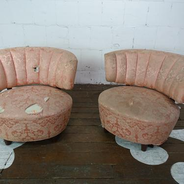 Pink Channel Back Chairs (Pair)