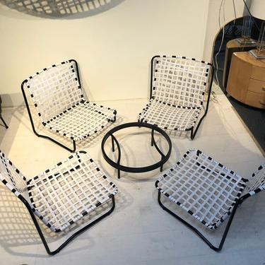 VINTAGE Mid Century Patio Low Sand Chairs with Table Set of 5 pieces by XcapeVintage