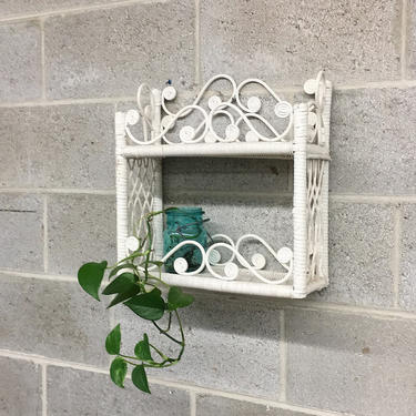 Vintage Wicker Rack Retro 1980s Bohemian + White + Two Tier  + Woven Design + Open Shelving  and Display + Home and Wall Decor + Plant Stand by RetrospectVintage215