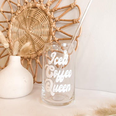 Iced Coffee Queen Beer can glass with glass straw by BlushandIvyDesign