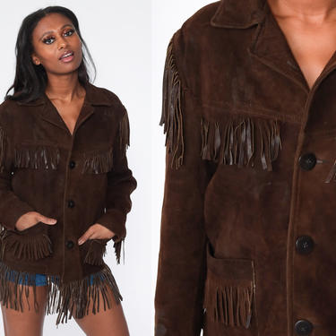 Fringe Leather Jacket 70s Boho Vintage Suede Southwest Jacket Western Brown Hippie Coat Vintage Biker Bohemian Jacket 1970s Medium Large by ShopExile