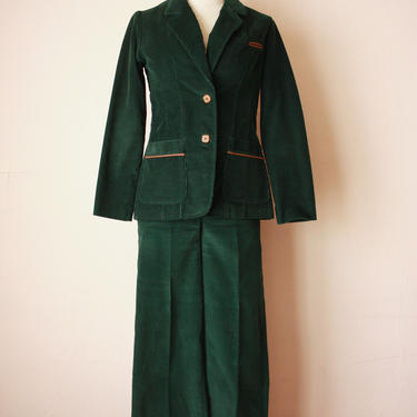 70s Corduroy Blazer and Pants Forest Green Wide Leg Three Piece Set Size XXS / XS by NoSurrenderVintage