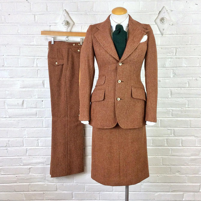 Women's 4 Size Vintage Lauren Tweed 3pc 1970s Polo Ralph Marked Suit Yybf6v7g