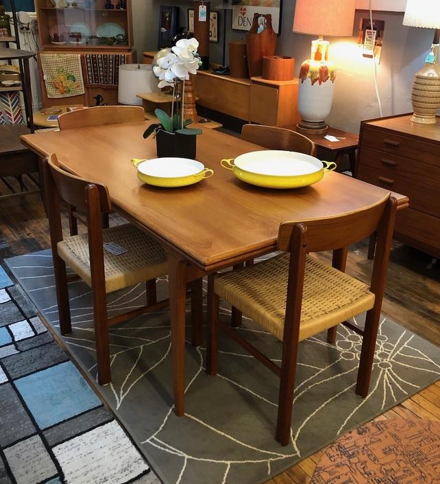 Danish Teak Draw Leaf Dining Table – opens to 110″