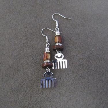 Afro pick earrings, adinkra symbol earrings, beauty earrings, bold statement earrings, Afrocentric earrings, comb earrings, silver earrings3 by Afrocasian