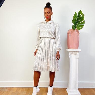 Vintage 1970s 1980s 80s Secretary Dress Satin Polka Dot Pleat Detail Lady Like Petite Midi Dress Collar Sleeve Modest Champagne Size XS by KeepersVintage