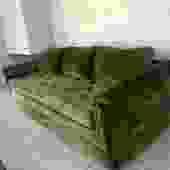 Midcentury Green Velvet Sofa