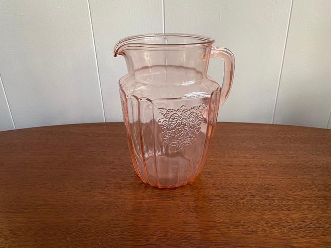 Vintage Anchor Hocking Pitcher Mayfair Pink Pitcher, Pink Pressed Depression Glass Pitcher by BlackcurrantPreserve