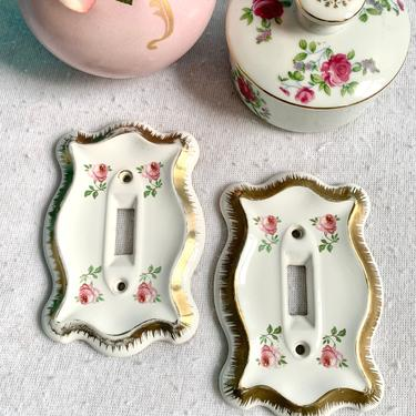 Sweet Roses Porcelain Switch Plates (2), Girly Granny Chic, Shabby & Chic, Vintage Mid Century Hollywood Regency by GabAboutVintage