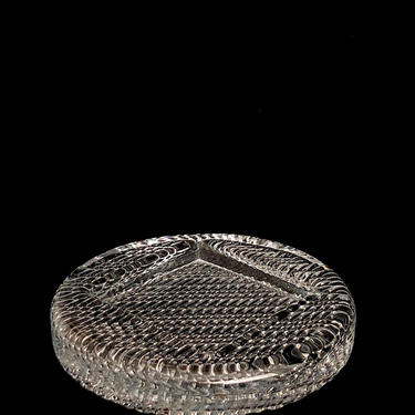 Vintage Modern Riihimaen Lasi Art Glass Bowl / Dish with Square Diamond Design & Textured Base Finland Finnish 20th Century Modernist Design by SwankyChaperooo
