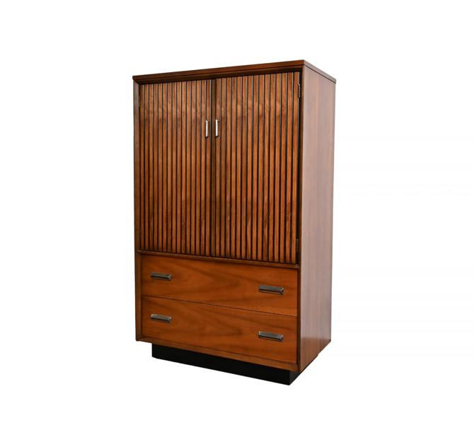 Bassett Walnut Wardrobe Tall Dresser Mid Century Modern by HearthsideHome