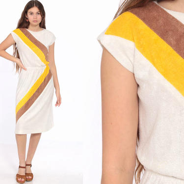 70s TERRY CLOTH Dress Midi Striped Off-White Yellow Disco Boho Graphic High Waist 1970s Vintage Retro Cap Sleeve Bohemian Extra Small xs s by ShopExile